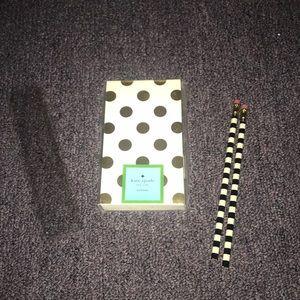 Kate spade notepad,pencils and ruler